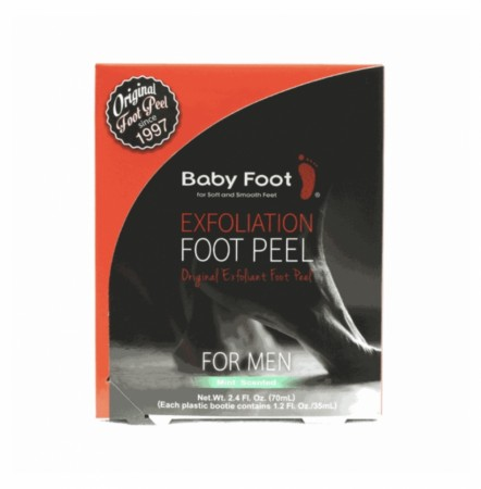 Baby foot exfoliation foot peel for men .